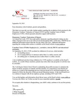 Letter to Parents_Guardians re ETFO and CUPE job action - Sept 30 2015